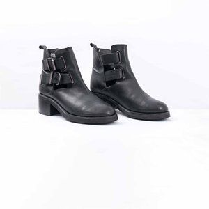 Topshop Buckled Block Heel Ankle Boot With Cut Out
